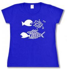 """Zum tailliertes T-Shirt """"Fische (blau)"""" für 14,00 € gehen."""