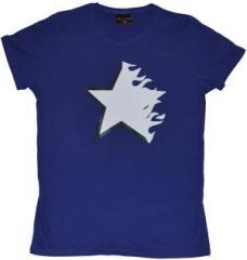 """Zum tailliertes T-Shirt """"Flaming Star purple"""" für 14,62 € gehen."""
