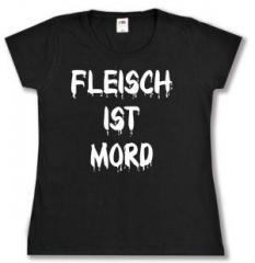"""Zum tailliertes T-Shirt """"Fleisch ist Mord"""" für 14,00 € gehen."""