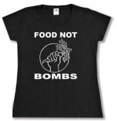 """Zum tailliertes T-Shirt """"Food Not Bombs"""" für 13,65 € gehen."""