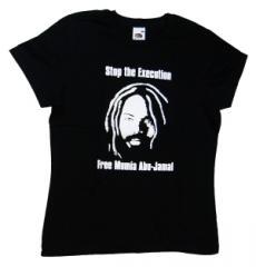 """Zum tailliertes T-Shirt """"Free Mumia - Stop the Execution"""" für 14,00 € gehen."""