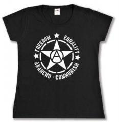 """Zum tailliertes T-Shirt """"Freedom - Equality - Anarcho - Communism"""" für 13,65 € gehen."""