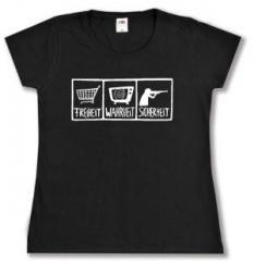 """Zum tailliertes T-Shirt """"Freiheit - Wahrheit - Sicherheit"""" für 13,65 € gehen."""