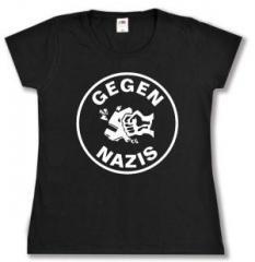 """Zum tailliertes T-Shirt """"Gegen Nazis (rund)"""" für 13,65 € gehen."""