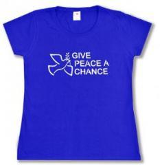 """Zum Girlie-Shirt """"Give Peace A Chance"""" für 14,00 € gehen."""