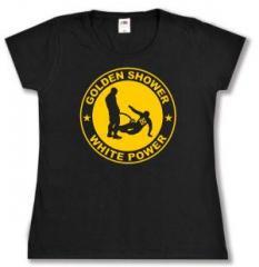 """Zum tailliertes T-Shirt """"Golden Shower white power"""" für 14,00 € gehen."""