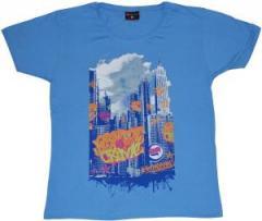 """Zum tailliertes T-Shirt """"Graffiti Crime light blue"""" für 19,50 € gehen."""