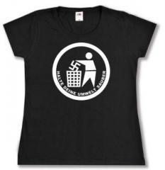 """Zum tailliertes T-Shirt """"Halte Deine Umwelt sauber"""" für 13,65 € gehen."""