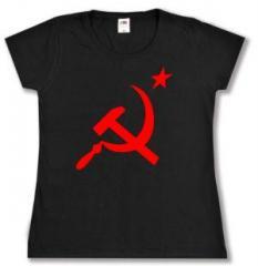 """Zum tailliertes T-Shirt """"Hammer und Sichel mit Stern"""" für 14,00 € gehen."""