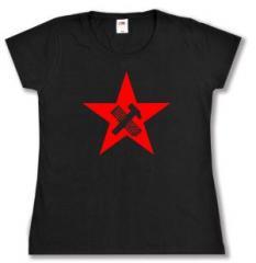 """Zum tailliertes T-Shirt """"Hammer und Tastatur Stern"""" für 13,65 € gehen."""