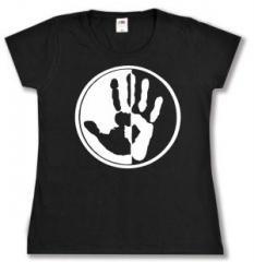 """Zum tailliertes T-Shirt """"Hand"""" für 13,65 € gehen."""