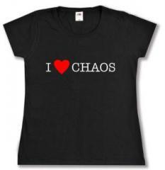 """Zum tailliertes T-Shirt """"I love Chaos"""" für 14,00 € gehen."""