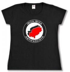 """Zum tailliertes T-Shirt """"Ibiza Ibiza Antifascista"""" für 13,65 € gehen."""