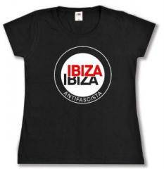 """Zum tailliertes T-Shirt """"Ibiza Ibiza Antifascista (Schrift)"""" für 14,00 € gehen."""