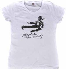 """Zum tailliertes T-Shirt """"Kampf dem Patriarchat!"""" für 14,62 € gehen."""