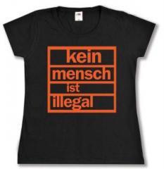 """Zum tailliertes T-Shirt """"Kein Mensch ist illegal (orange)"""" für 14,00 € gehen."""