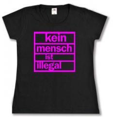 """Zum tailliertes T-Shirt """"Kein Mensch ist illegal (pink)"""" für 13,65 € gehen."""