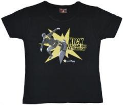 """Zum tailliertes T-Shirt """"Kick Fascism and Nationalism"""" für 15,11 € gehen."""