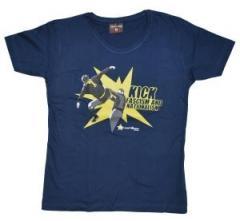 """Zum tailliertes T-Shirt """"Kick Fascism and Nationalism"""" für 15,50 € gehen."""