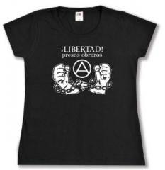 """Zum tailliertes T-Shirt """"Libertad presos obreros!"""" für 14,00 € gehen."""