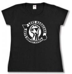 """Zum tailliertes T-Shirt """"Love Hardcore - Hate Homophobia"""" für 13,65 € gehen."""