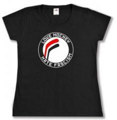 """Zum tailliertes T-Shirt """"Love Hockey Hate Fascism"""" für 13,65 € gehen."""