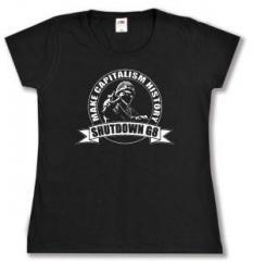 """Zum tailliertes T-Shirt """"Make Capitalism History"""" für 13,65 € gehen."""