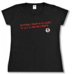 """Zum tailliertes T-Shirt """"Menstruation o muerte"""" für 16,00 € gehen."""