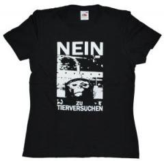 """Zum tailliertes T-Shirt """"Nein zu Tierversuchen"""" für 13,65 € gehen."""