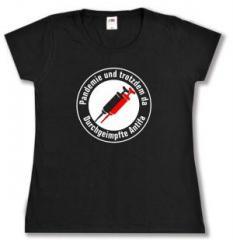 """Zum tailliertes T-Shirt """"Pandemie und trotzdem da - Durchgeimpfte Antifa"""" für 14,00 € gehen."""
