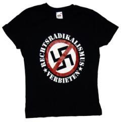 """Zum tailliertes T-Shirt """"Rechtsradikalismus verbieten"""" für 12,00 € gehen."""