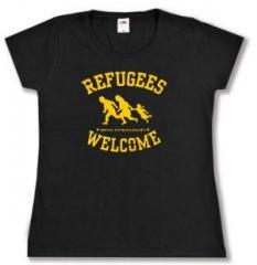 """Zum tailliertes T-Shirt """"Refugees welcome"""" für 13,65 € gehen."""