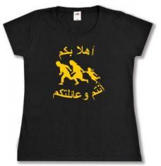 """Zum Girlie-Shirt """"Refugees welcome (arabisch)"""" für 14,00 € gehen."""
