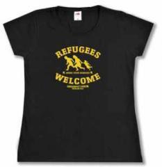 """Zum tailliertes T-Shirt """"Refugees welcome Linksjugend"""" für 16,00 € gehen."""