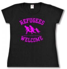 """Zum tailliertes T-Shirt """"Refugees welcome (pink)"""" für 14,00 € gehen."""