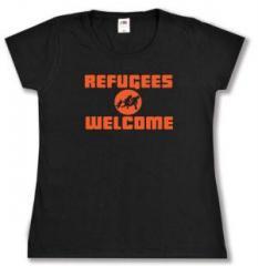 """Zum tailliertes T-Shirt """"Refugees welcome (Quer)"""" für 14,00 € gehen."""