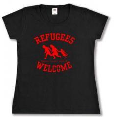 """Zum tailliertes T-Shirt """"Refugees welcome (rot)"""" für 14,00 € gehen."""