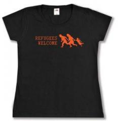 """Zum tailliertes T-Shirt """"Refugees welcome (running family)"""" für 13,65 € gehen."""