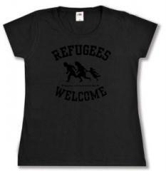"""Zum tailliertes T-Shirt """"Refugees welcome (schwarz)"""" für 13,65 € gehen."""