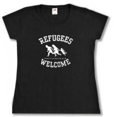 """Zum tailliertes T-Shirt """"Refugees welcome (weiß)"""" für 14,00 € gehen."""