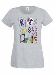 """Zum tailliertes T-Shirt """"Riots not diets grau Linksjugend"""" für 15,60 € gehen."""