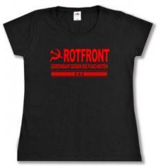 """Zum tailliertes T-Shirt """"Rotfront - Gemeinsam gegen die Faschisten"""" für 13,65 € gehen."""