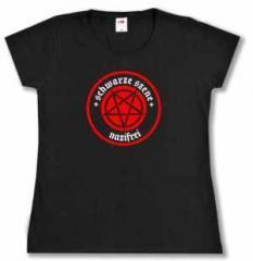 """Zum tailliertes T-Shirt """"Schwarze Szene Nazifrei - Rotes Pentagramm"""" für 17,00 € gehen."""