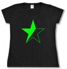 """Zum tailliertes T-Shirt """"Schwarz/grüner Stern"""" für 13,65 € gehen."""