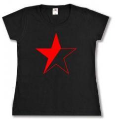 """Zum tailliertes T-Shirt """"Schwarz/roter Stern"""" für 13,65 € gehen."""