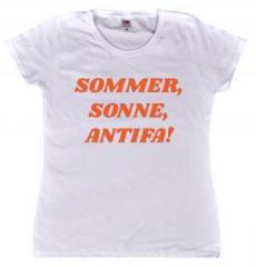 """Zum tailliertes T-Shirt """"Sommer, Sonne, Antifa!"""" für 14,00 € gehen."""