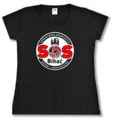 """Zum tailliertes T-Shirt """"SOS Bihac"""" für 16,00 € gehen."""