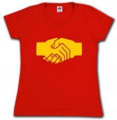"""Zum tailliertes T-Shirt """"Sozialistischer Handschlag"""" für 14,00 € gehen."""