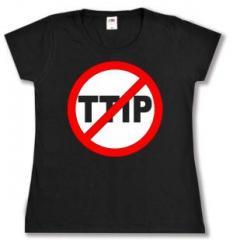 """Zum tailliertes T-Shirt """"Stop TTIP"""" für 14,00 € gehen."""