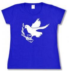 """Zum tailliertes T-Shirt """"Taube mit Molli"""" für 14,00 € gehen."""